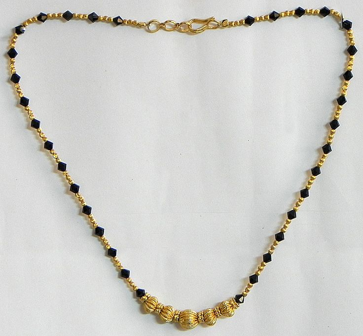 Gold Plated Mangalsutra with Black Crystal Beads (Beads and Metal))