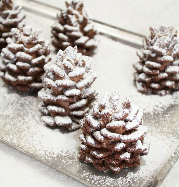 Snowy Chocolate Pinecones! Super cute quick  easy recipe, would be fun for a cookie exchange