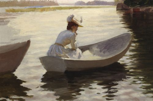 art-is-art-is-art: Study for Girls in Boat, Albert Edelfelt