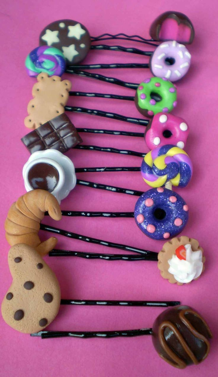 Hair bobby pin handmade of polymer clay by PinkFlamingoShop, $4.50