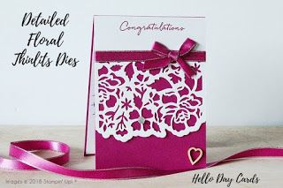 Michelle Mills - Independent Stampin' Up! Demonstrator Australia. FB: Hello Day Cards.  Engagement card using the Detailed Floral Thinlits Dies & the Floral Phrases Stamp Set in Berry Burst coordinating products. All items are Stampin' Up!®   Photo by Kayla MacAulay, #eatsleepstamprepeat #gogetstamped  #stampinup #stamping #team #makeacardsendacard  #worldhelloday #hello #helloday #hellodaycards  #engagement #wedding #congratulations #romantic #celebrate #floral #berryburst