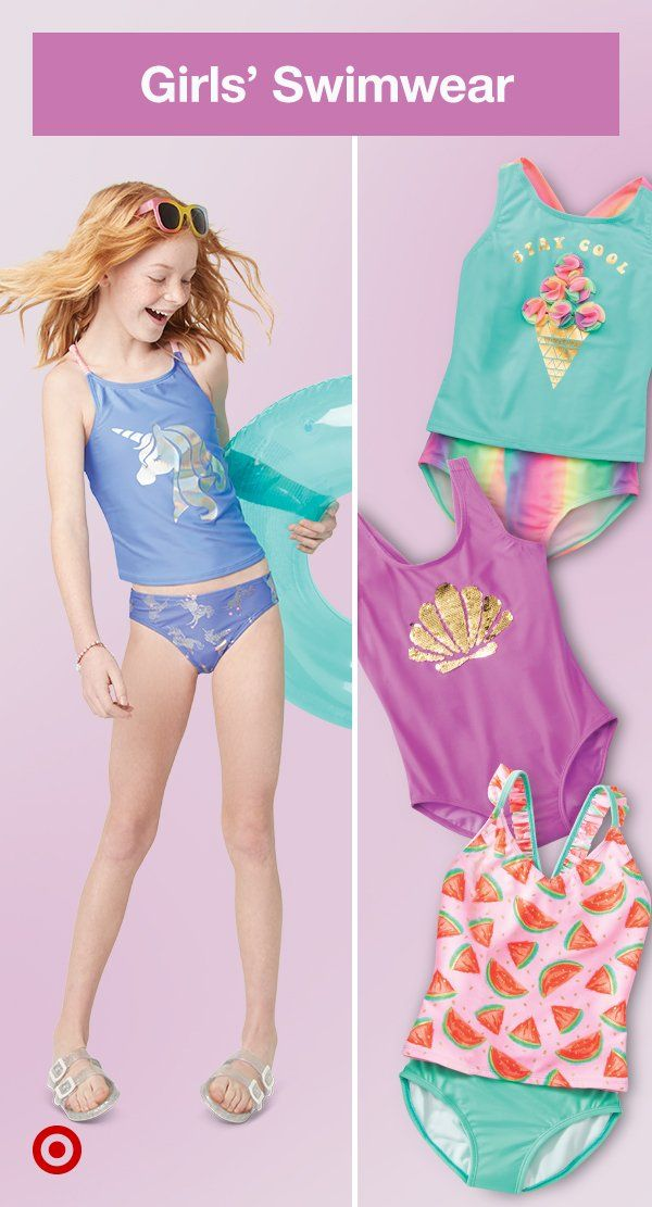 6939a62fffa8be Find girls' swimsuits in bright hues & fun prints that'll make a splash at  the beach or pool.
