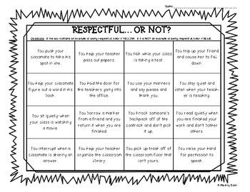 I created this repect color sorting worksheet for my students to identify examples and non-examples of respect. The students read the clues in each box and colors it yellow if the example is NOT RESPECTFUL, and BLUE if the example is showing RESPECT.