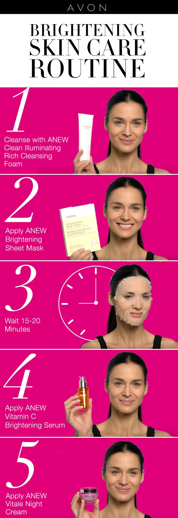 Get radiant skin in 5 steps with Avon ANEW skin care products.