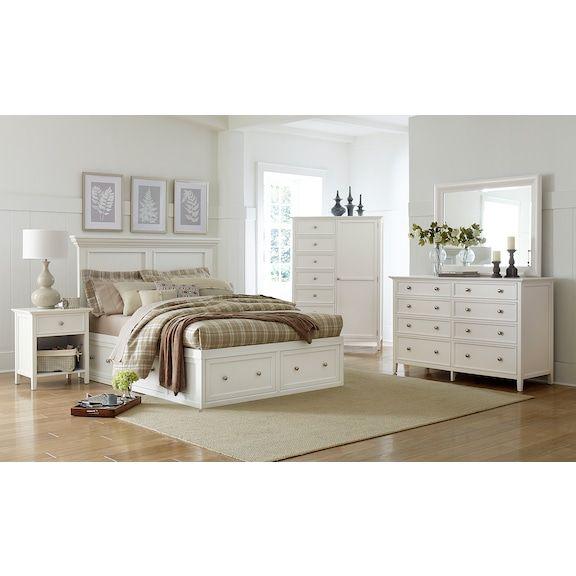 Ellsworth Queen 4pc Storage Bedroom White Levin Furniture Bedroom Storage King Bedroom Sets Bedroom Set