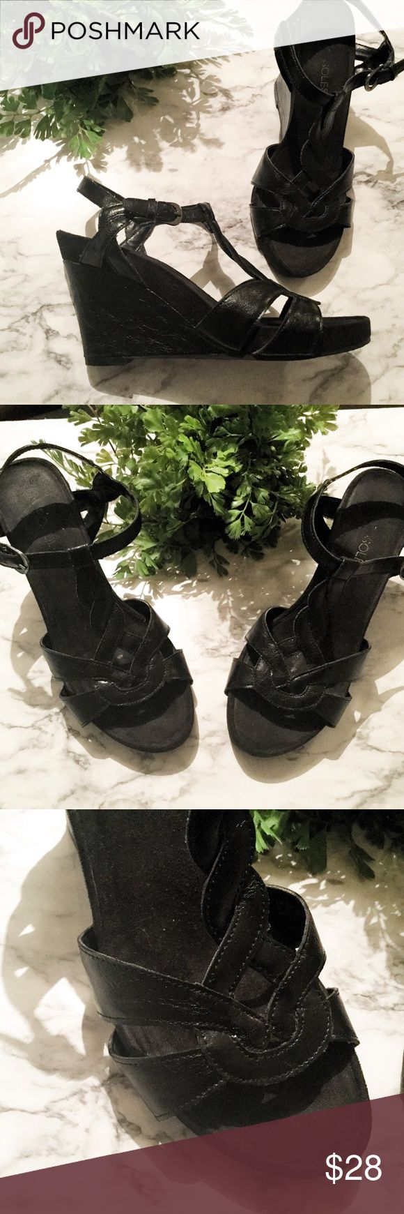 AEROSOLES Wedge Sandals Vegan Black Heels Boho 7 🍃 Solid black Aerosoles wedges. These sandals are a women's size 7. Foot bed is super soft and comfortable......feels like suede. T strap criss cross design. Adjustable buckle on ankle strap.   🍃🍃🍃🍃🍃🍃🍃🍃🍃🍃🍃🍃  🌸 Man made upper 🌸 Photos show condition  🌸  Boho, vegan, festival, pool party, date night, wedding, cruise  💕 Offers welcome 💕 AEROSOLES Shoes