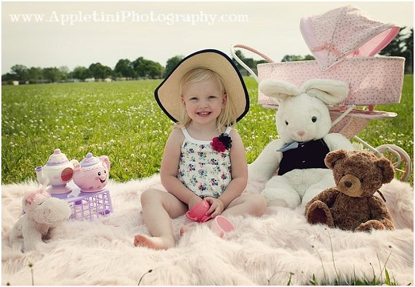 tea party photo shoot.  Cute styled idea for little girls.  Big hat, stuffed animals and tea pots... PERFECT!