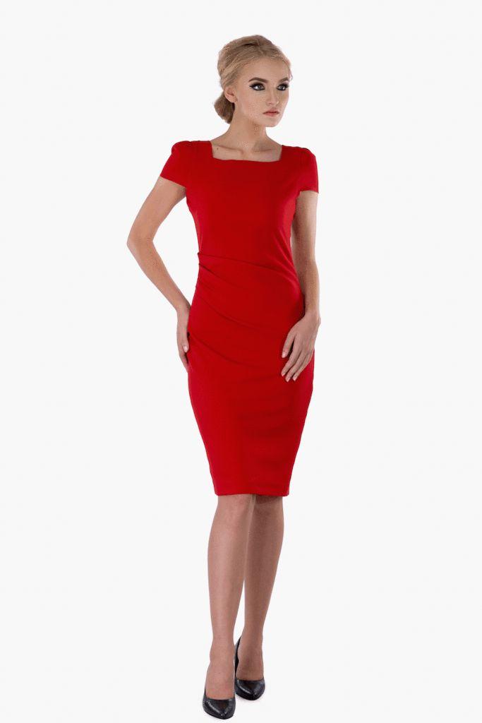 Red Ruched Dress – Mojau