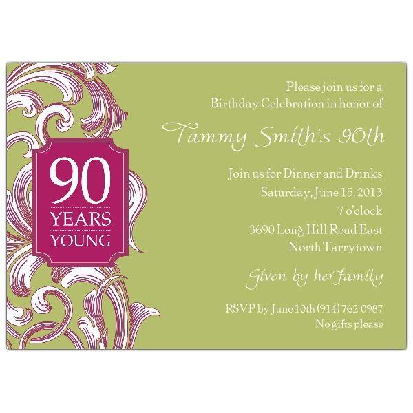 90 birthday invitations | invitations 90th birthday ...