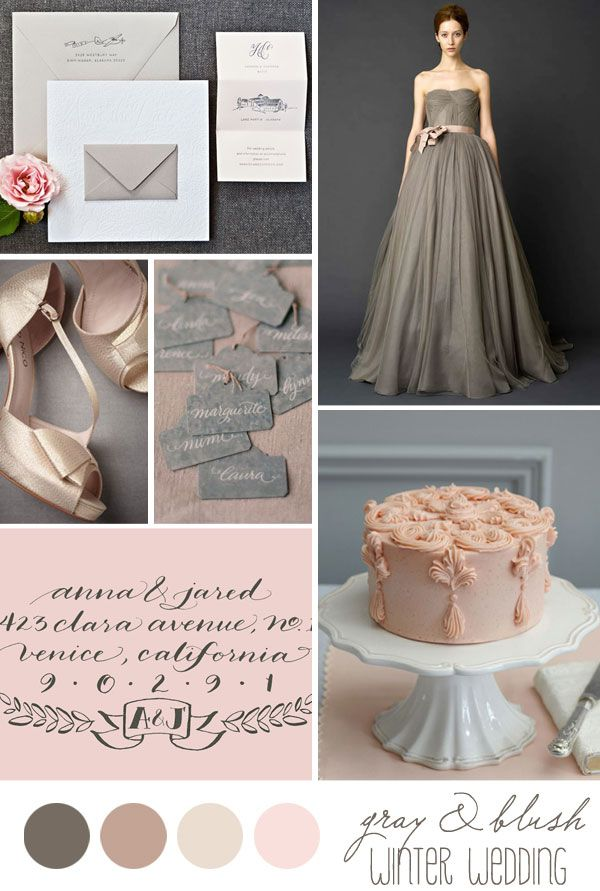 Inspiration board: Winter wedding in gray and blush - Belle & Chic