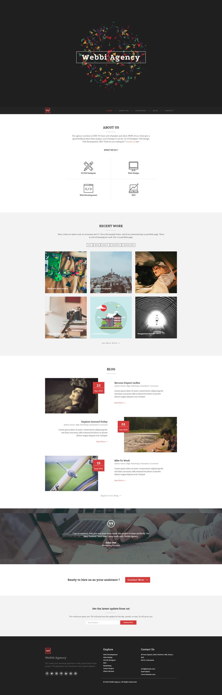 Webbi Creative Template is a creative agency HTML5 template designed with responsive feature. More https://goo.gl/uLuejH