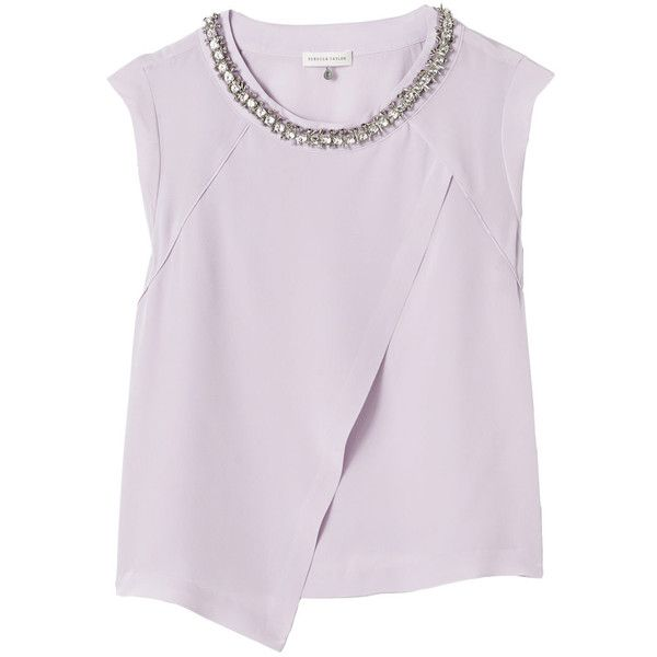 Rebecca Taylor Embellished Cross Over Top (£97) ❤ liked on Polyvore featuring tops, blouses, shirts, t-shirts, lavender, shirts & tops, light purple shirt, surplice blouse, lavender silk blouse and embellished tops
