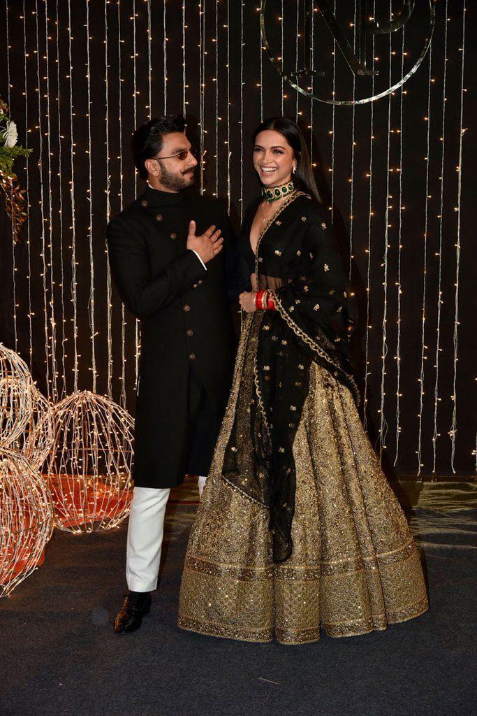 Deepika Padukone Sabyasachi Inspired Black Gold Lehenga Indian Bridal Outfits Indian Wedding Outfits Black And Gold Lehenga