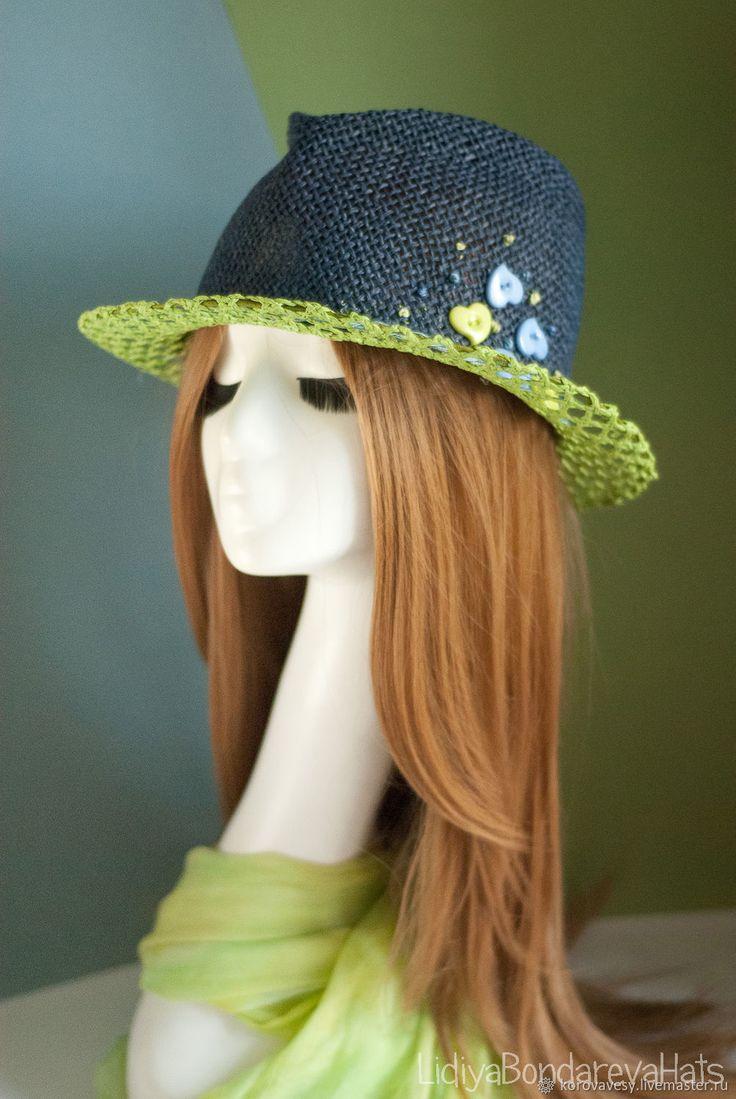 Шляпы ручной работы. Ярмарка Мастеров - ручная работа. Купить ЧЕРНИЧНЫЙ ЛЕС. Handmade. Лето, листья, витамины, шляпа для отпуска, соломенная шляпа, авторский дизайн, дизайнерская шляпа