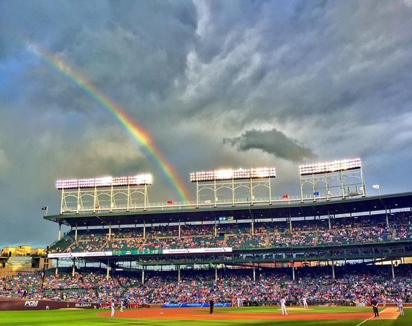 A rainbow over Wrigley