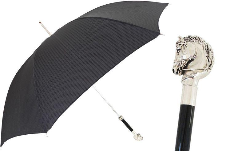 478 5973-2 W41 - Elegant Umbrella, Silver Horse Handle