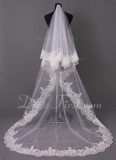 Een-rij Kathedraal Bruids Sluiers met Lace Stoffen Rand (006005417)