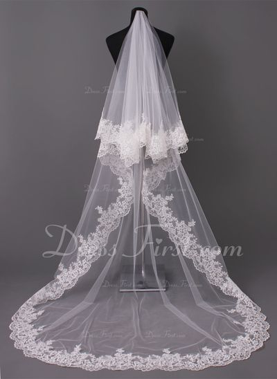 One-tier Cathedral Bridal Veils With Lace Applique Edge (006005417)
