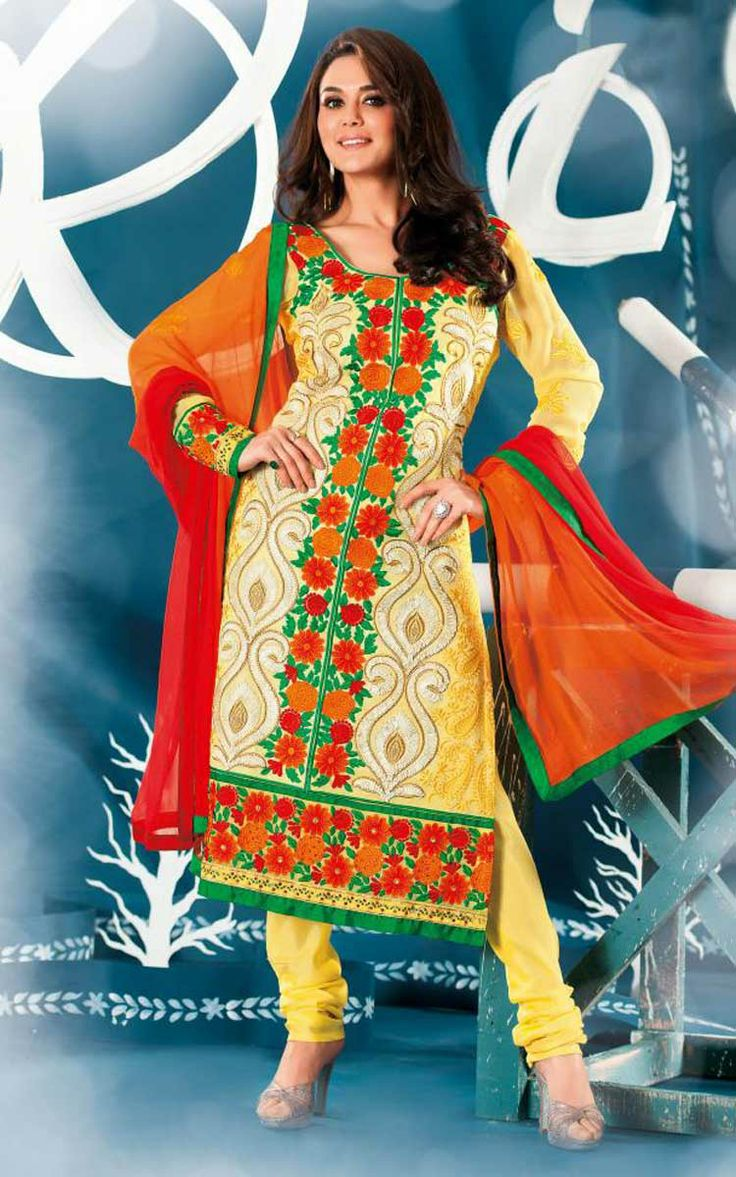 YELLOW & OFF WHITE GEORGETTE EMBROIDERED SALWAR KAMEEZ - ZIN 9009