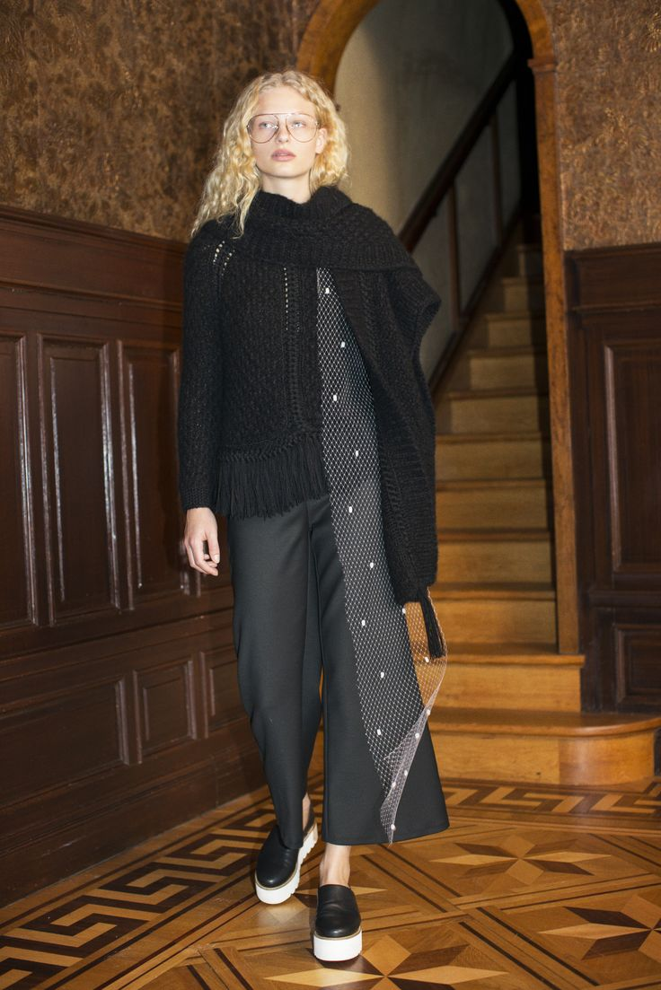Rodebjer FW16: Jacket Kim Black, Trousers Dama Suit Black, Poncho Sam Black, Shoes Marge Black.