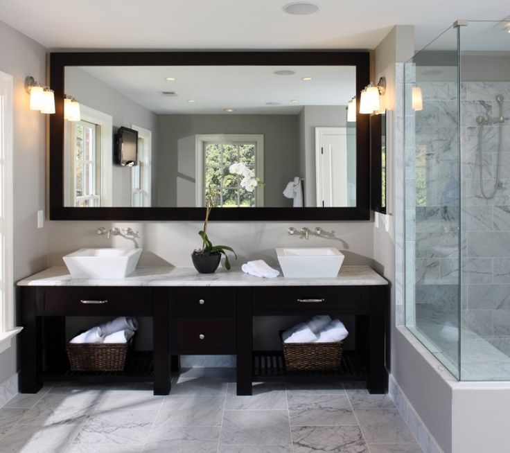 """""""Elegance is learned...my friend"""".... and we're getting an A+! It doesn't take a Real Housewife to plan a stylish master bath. The formula is simple, his and hers #vessel sinks + clean lines + #wallmount faucets = smart and chic! (Found on grnyrenovation.com)"""