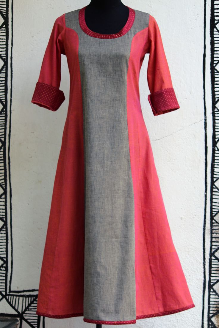 a stunning pink-grey anarkali with handloom mashroo trims makes it a perfect for all occasions! it can be teamed with a variety of dupattas and stoles! (click