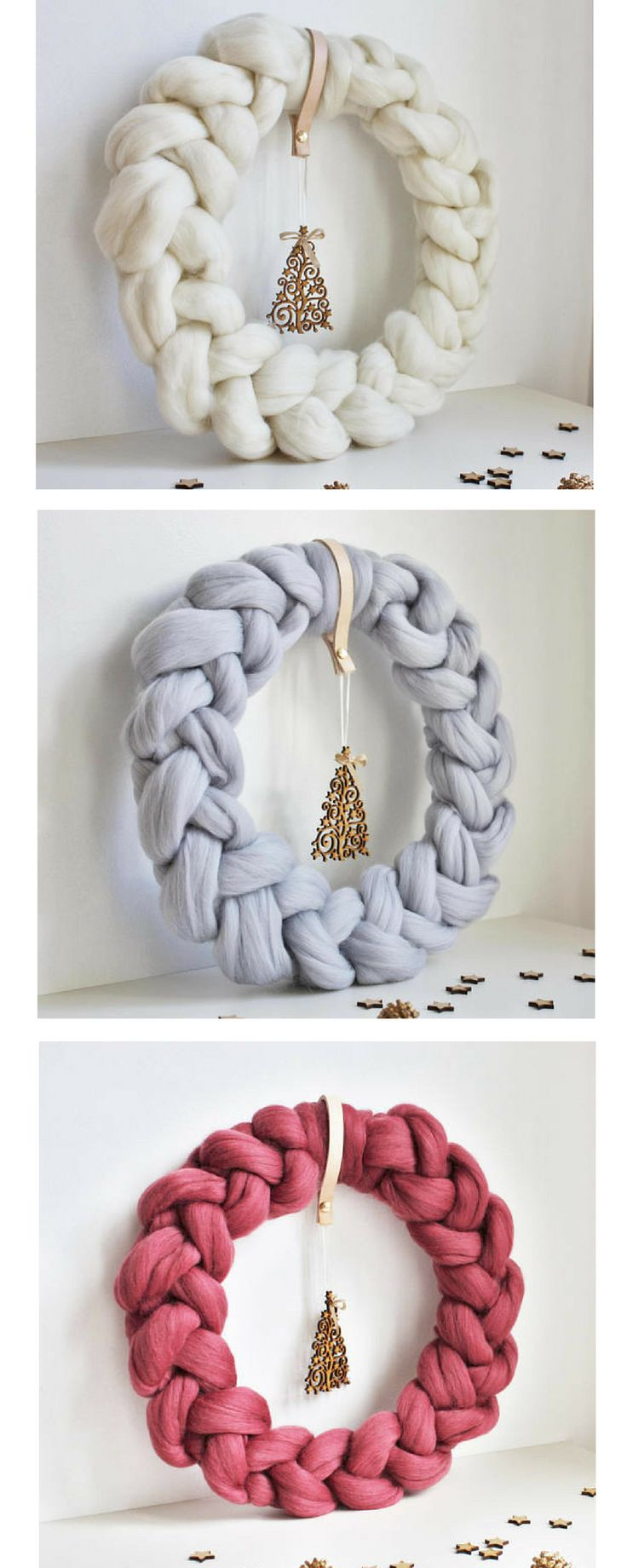 I love this cozy, soft Scandinavian wreath. The little filigree Christmas tree hanging makes it even cuter #christmaswreath #scandinavianchristmas #cozychristmas #christmasdecor #commissionlink