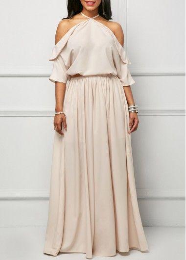 Halter Neck Elastic Waist Pink Maxi Dress on sale only US$37.26 now, buy cheap Halter Neck Elastic Waist Pink Maxi Dress at liligal.com