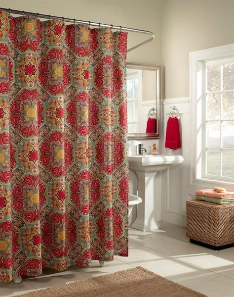 white bathroom with red and green quatrefoil shower curtain trending in bathroom decor quatrefoil shower curtains from bathroom bliss by
