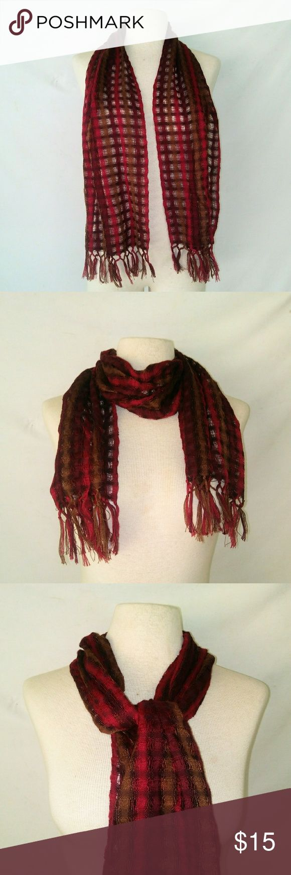 WOVEN Fall Colors Scarf Red Maroon & Tan Brown Loose Weave Lightweight Scarf with Tassle Fringe. No tags. In excellent used condition. From a smoke free home. Make an offer! BUNDLE & Automatically Get 20% Off on 2+ Items.  New Feature Alert: Bundle one or more items and I'll make you a customized awesome offer! Just bundle and wait for my offer... Up to 40% off - the bigger the bundle the bigger the savings! *2017 SUGGESTED USER* Vintage Accessories Scarves & Wraps