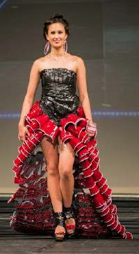 Amazing dress created with red plastic cups! Design by 14-year old Jade Hickey.