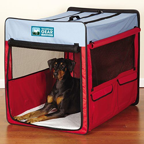 I just used this last weekend  Guardian Gear Collapsible Folding Soft Portable Dog Crate XL for Extra Large Breed Dogs – Red/Blue follow this link click here http://bridgerguide.com/guardian-gear-collapsible-folding-soft-portable-dog-crate-xl-for-extra-large-breed-dogs-redblue/ for much more detail about it. Thanks and please repin if you like it. :)