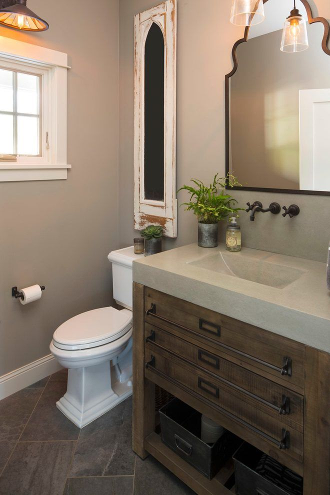 lakefront cottage powder room craftsman with mount toilet handles and levers