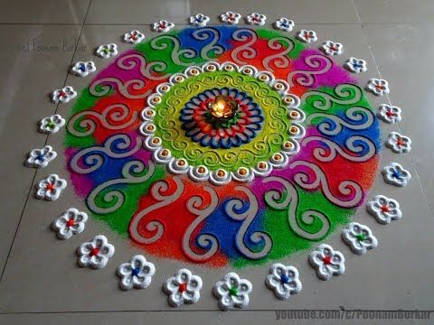Super Easy Flower Border Rangoli Designs Using Spoon| Creative Rangoli by Shital Mahajan. - YouTube