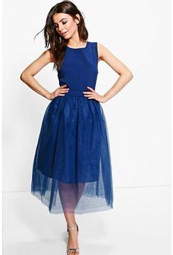 Boutique Lana Woven Tulle Midi Skater Dress