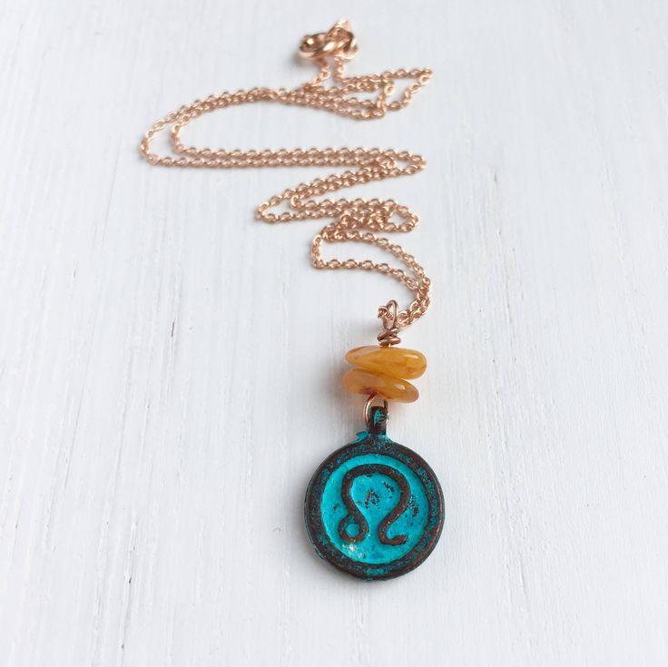 Leo Zodiac Necklace, Leo Star Sign Gifts, Leo Pendant, Zodiac Jewelry, Rose Gold Necklace, Amber Necklace, Horoscope Leo, August Birthday by MadeByMissM on Etsy