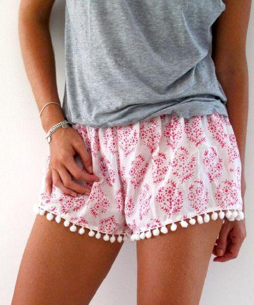 White Pink Floral Print Pom Pom Shorts