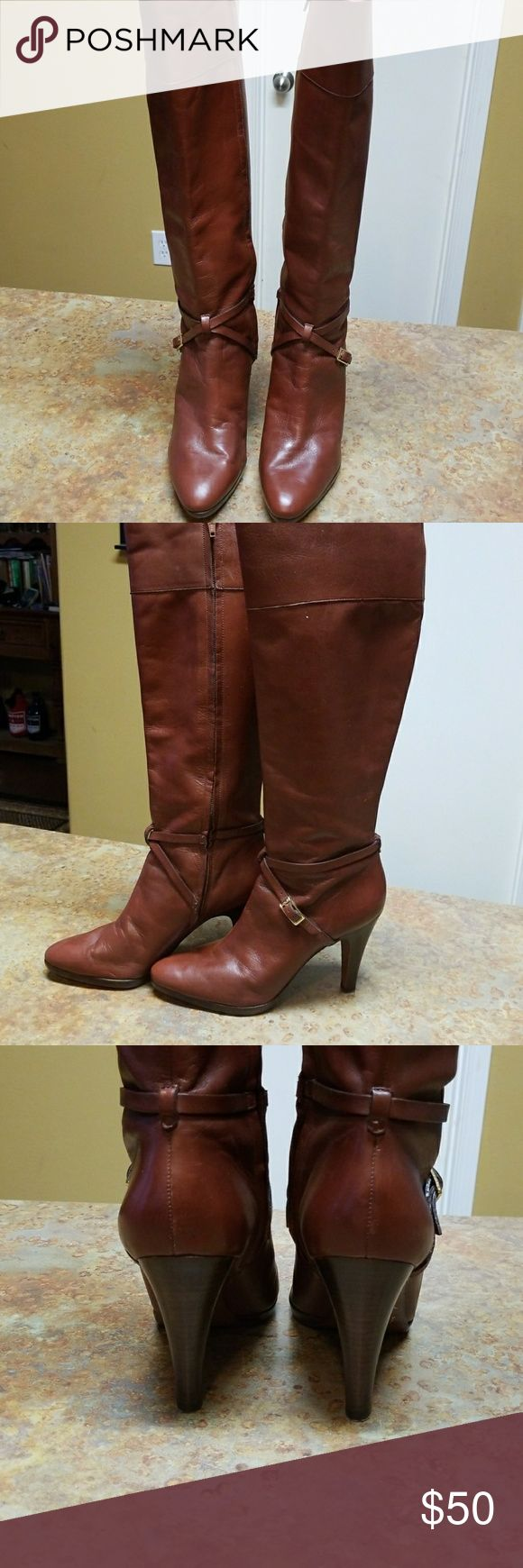 Banana Republic boots Beautiful dress knee boot.  Rich chestnut color with stacked wood heel, gold buckle ankle detail. Heel caps in tact,  no scrapes, etc. Worn once for a photo.. My loss is your new treasure! Banana Republic Shoes Heeled Boots