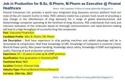 Global Institute of Biosciencse and Technology: Jobs in Production for B.Sc, B.Pharm, M.Pharm as E...