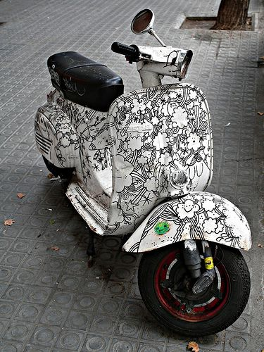 black #graphics on #Vespa #scooter