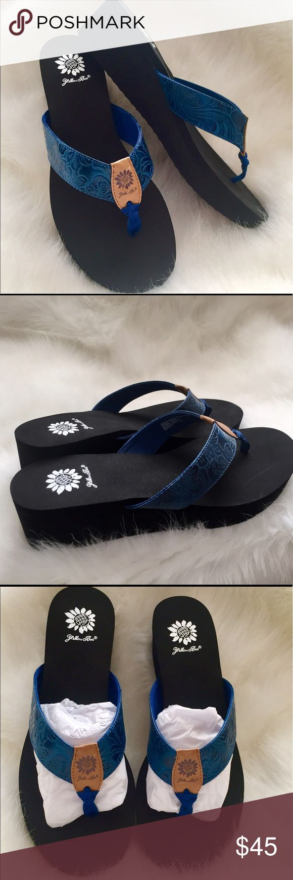 Yellow Box Violetta Navy Wedge Flip Flop Sandal Wake up your wardrobe with these Violetta sandals!! They have a fun wedge heel. Yellow Box Shoes Sandals