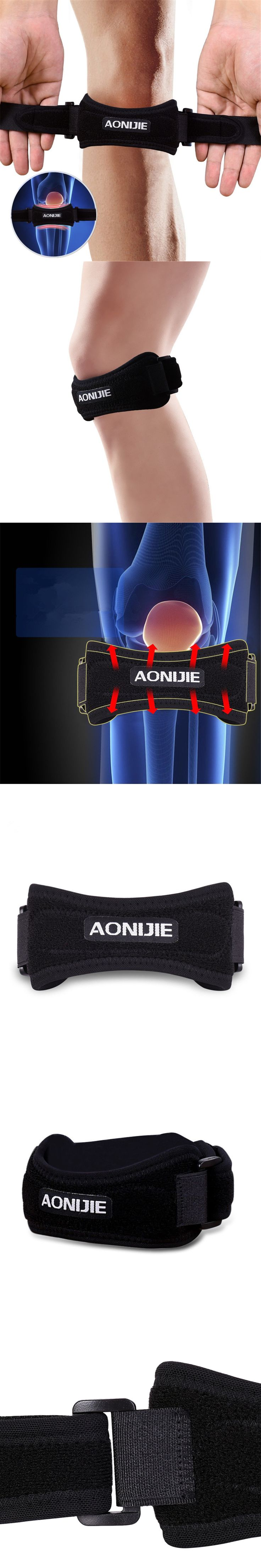 AONIJIE Sport Knee Protector Brace Running Basketball Knee Support Breathable Patella Shock Absorption Knee Pad for Volleyball