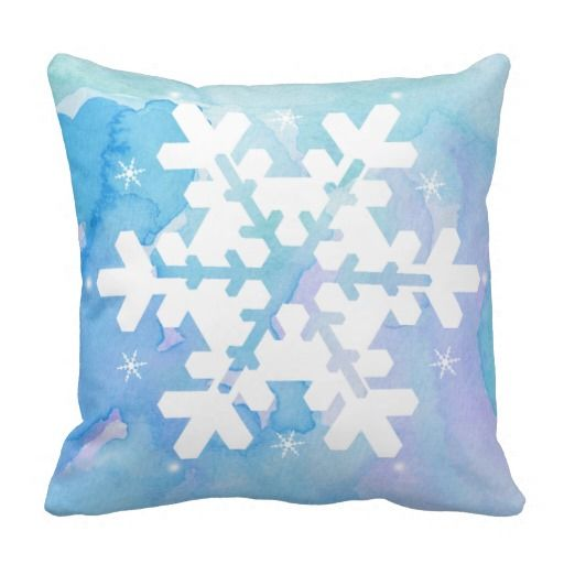 Very pretty Snowflake Watercolor Pillow. Frozen inspired pillow