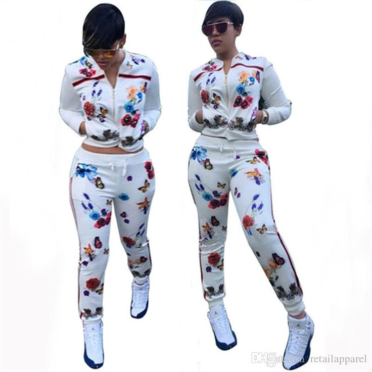 images of women of sweat suit outfits and jordans | 2018 Women'S Sets Sweat Suit Butterfly Printing Set Long ...