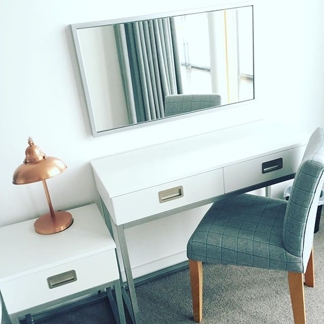 Bedroom interiors @talbotsuites #rosegold #dressingtable #bedroom #accommodation #grey #lamp #selfcatering #holiday #apartment #wexford #guests #talbothotels #irishhotels #irish #hotels