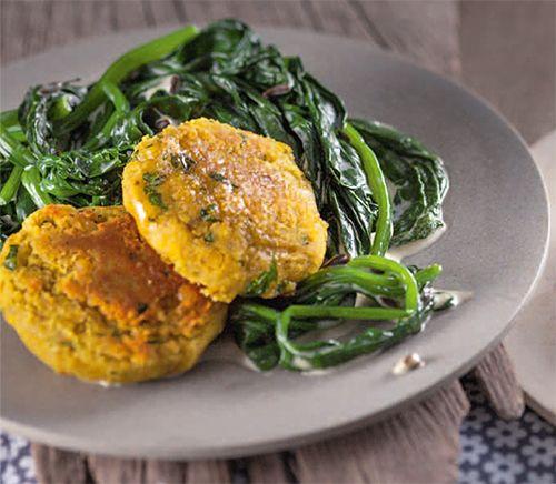 Gelbe Linsentaler mit Sahne-Spinat | Blog Köstlich Vegetarisch