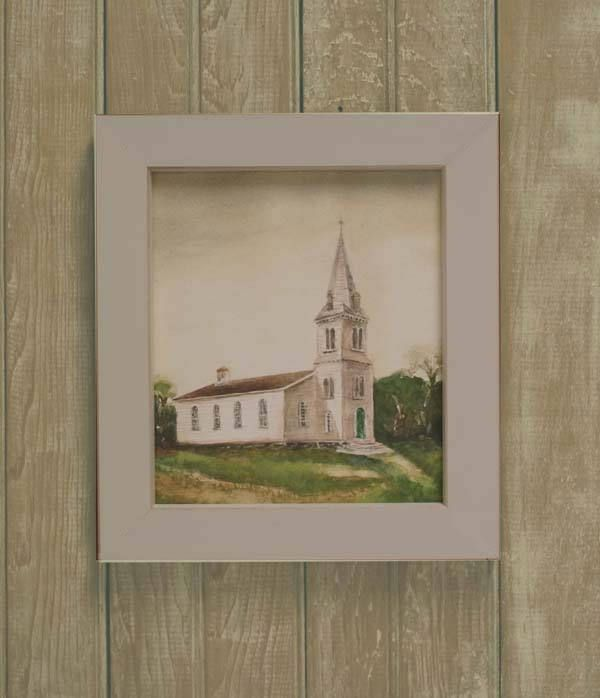 Framed South Ferry Church RI watercolor print - coastal print-  seacoast art- south ferry church wedding gift- framed church by ShirleyBell on Etsy