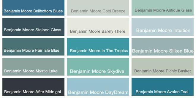 Benjamin Moore Color Palette Benjamin Moore Coastal Teal Aqua Blue Green Gray Blues Color Ideas Gray Paint Colors Bm Skydive Bm Antiqued Aqua Bm Mystic Benjamin Moore Colors Coastal Paint Colors Teal