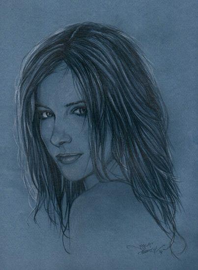 Retrato de Susan Coffey a lápiz