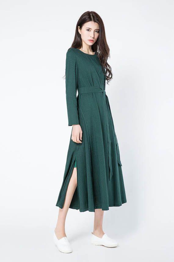 donker groene linnen jurk, groene jurk, lange linnen tuniek, lange mouwen jurk, womens jurken, vrouwen kleding, plus grootte kleding C1086